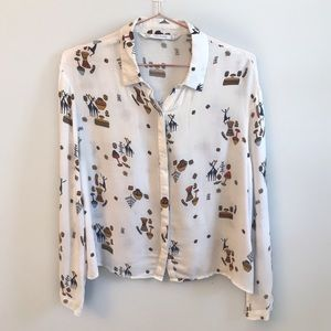 Zara TRF | Cropped printed button down